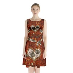 Steampunk, Wonderful Heart With Clocks And Gears On Red Background Sleeveless Chiffon Waist Tie Dress