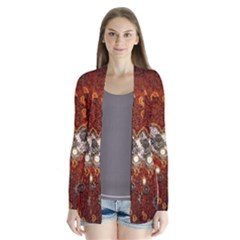 Steampunk, Wonderful Heart With Clocks And Gears On Red Background Drape Collar Cardigan