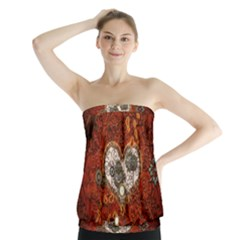 Steampunk, Wonderful Heart With Clocks And Gears On Red Background Strapless Top
