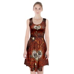 Steampunk, Wonderful Heart With Clocks And Gears On Red Background Racerback Midi Dress