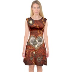 Steampunk, Wonderful Heart With Clocks And Gears On Red Background Capsleeve Midi Dress