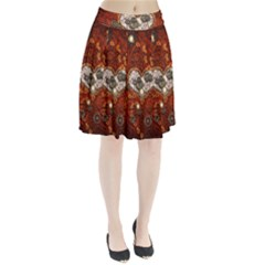 Steampunk, Wonderful Heart With Clocks And Gears On Red Background Pleated Skirt