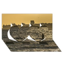 River Plater River Scene At Montevideo Twin Hearts 3D Greeting Card (8x4)