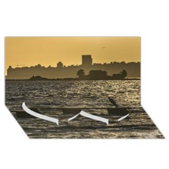 River Plater River Scene At Montevideo Twin Heart Bottom 3d Greeting Card (8x4)