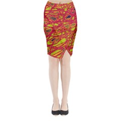 Orange neon Midi Wrap Pencil Skirt