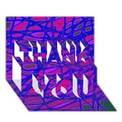 Blue THANK YOU 3D Greeting Card (7x5)