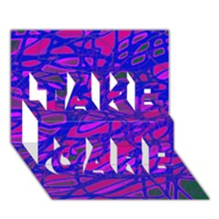 Blue TAKE CARE 3D Greeting Card (7x5)