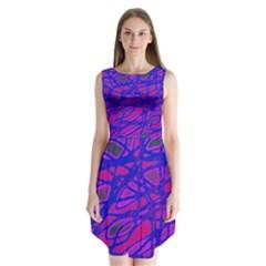 Blue Sleeveless Chiffon Dress