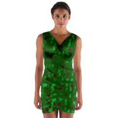 Green  Wrap Front Bodycon Dress