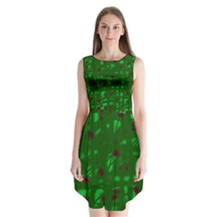 Green  Sleeveless Chiffon Dress