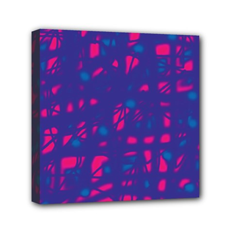 Blue and pink neon Mini Canvas 6  x 6