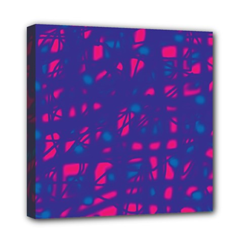 Blue and pink neon Mini Canvas 8  x 8