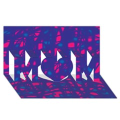 Blue and pink neon MOM 3D Greeting Card (8x4)