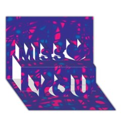 Blue and pink neon Miss You 3D Greeting Card (7x5)