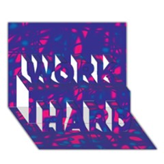 Blue And Pink Neon Work Hard 3d Greeting Card (7x5)