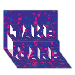 Blue and pink neon TAKE CARE 3D Greeting Card (7x5)