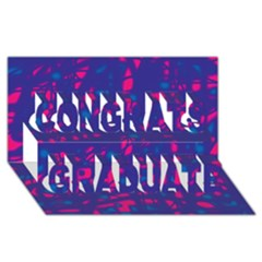 Blue and pink neon Congrats Graduate 3D Greeting Card (8x4)
