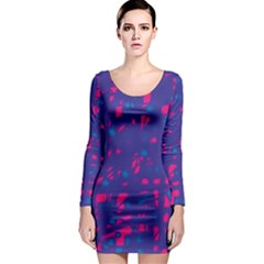 Blue and pink neon Long Sleeve Bodycon Dress