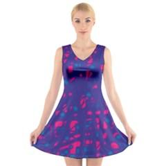 Blue and pink neon V-Neck Sleeveless Skater Dress
