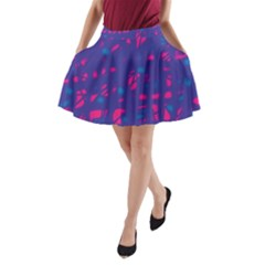 Blue and pink neon A-Line Pocket Skirt