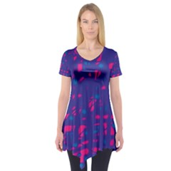 Blue And Pink Neon Short Sleeve Tunic