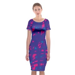 Blue and pink neon Classic Short Sleeve Midi Dress