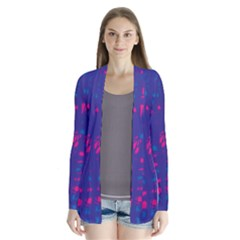 Blue And Pink Neon Drape Collar Cardigan