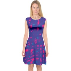 Blue And Pink Neon Capsleeve Midi Dress