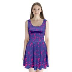 Blue and pink neon Split Back Mini Dress