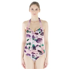 Spiral Eucalyptus Leaves Halter Swimsuit