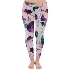 Spiral Eucalyptus Leaves Winter Leggings