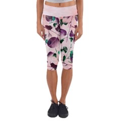 Spiral Eucalyptus Leaves Capri Yoga Leggings