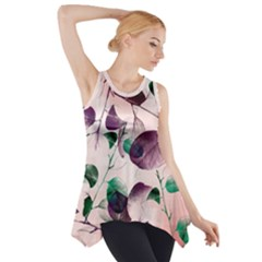 Spiral Eucalyptus Leaves Side Drop Tank Tunic