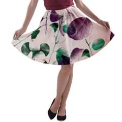 Spiral Eucalyptus Leaves A-line Skater Skirt