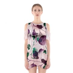 Spiral Eucalyptus Leaves Women s Cutout Shoulder One Piece