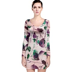 Spiral Eucalyptus Leaves Long Sleeve Velvet Bodycon Dress