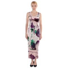 Spiral Eucalyptus Leaves Fitted Maxi Dress