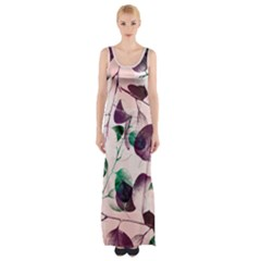 Spiral Eucalyptus Leaves Maxi Thigh Split Dress