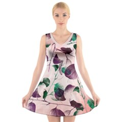 Spiral Eucalyptus Leaves V-Neck Sleeveless Dress