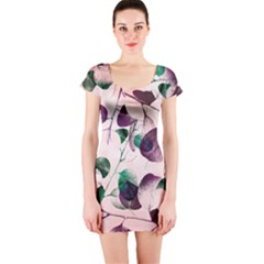 Spiral Eucalyptus Leaves Short Sleeve Bodycon Dress