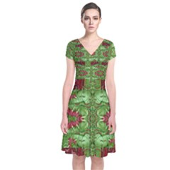 Bleeding Hearts Forest Short Sleeve Front Wrap Dress