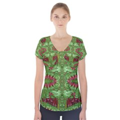 Bleeding Hearts Forest Short Sleeve Front Detail Top