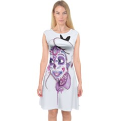 Alice Sugar Skull Capsleeve Midi Dress