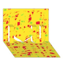 Yellow And Red I Love You 3d Greeting Card (7x5)