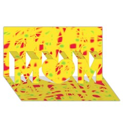 Yellow and red MOM 3D Greeting Card (8x4)