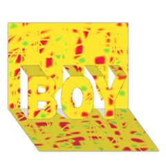 Yellow and red BOY 3D Greeting Card (7x5)