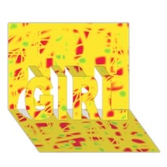 Yellow and red GIRL 3D Greeting Card (7x5)