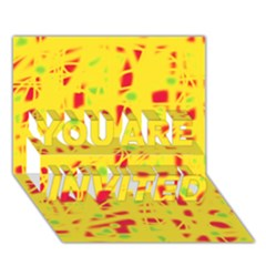 Yellow and red YOU ARE INVITED 3D Greeting Card (7x5)