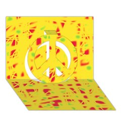 Yellow and red Peace Sign 3D Greeting Card (7x5)