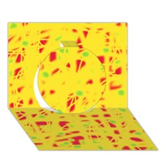 Yellow And Red Circle 3d Greeting Card (7x5)